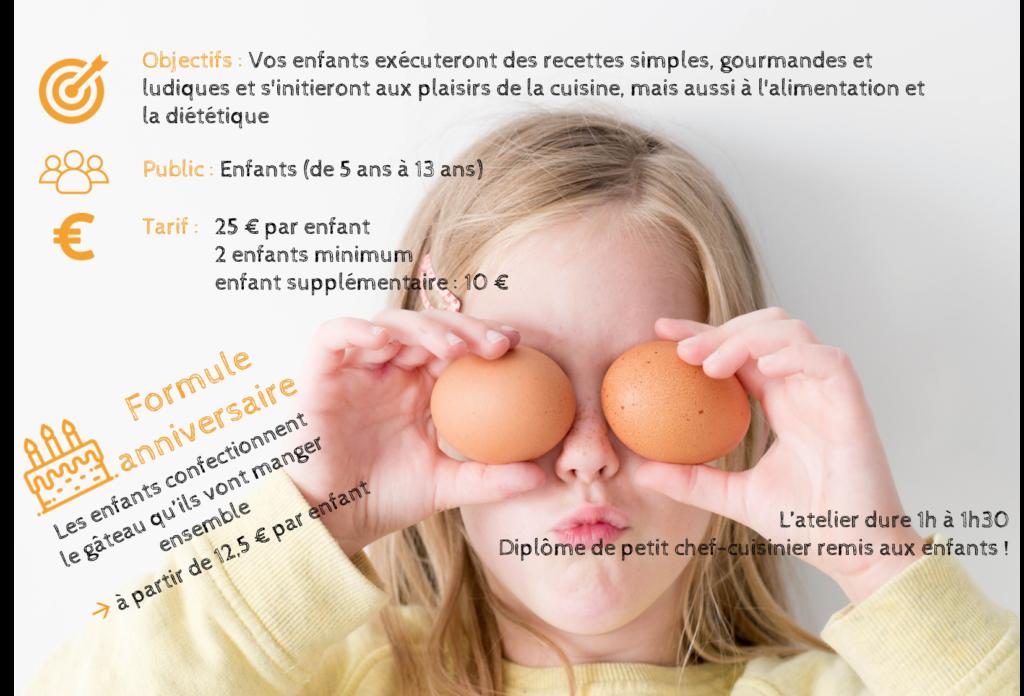 Ateliers culinaires diététiques pour enfants - Initiation à la diététique - Formule anniversaire