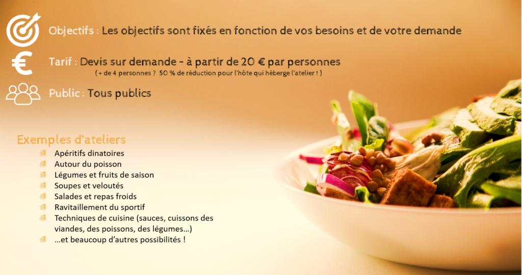 Ateliers culinaires sur mesure à domicile - Tous publics
